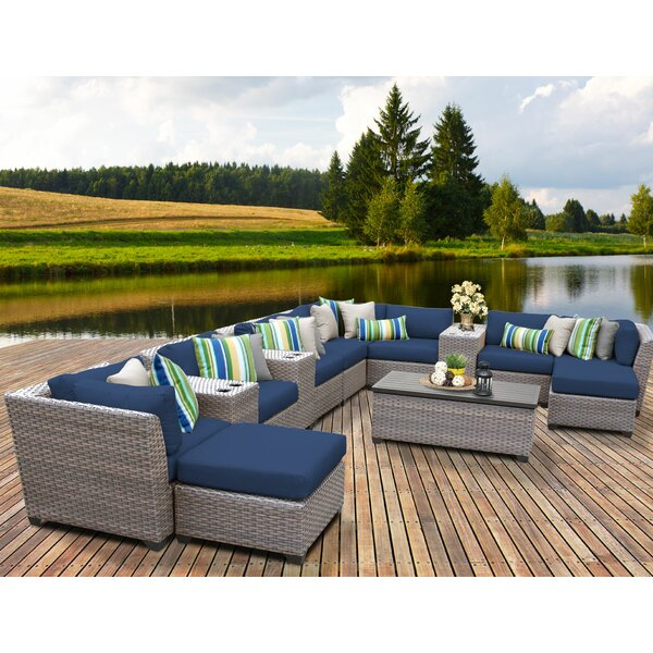 Meeks 14 Piece Rattan Sectional Seating Group with Cushions by Rosecliff Heights