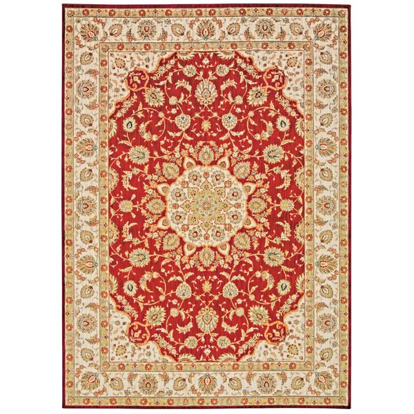 Babylon Ancient Times Palace Red/Beige Area Rug by Kathy Ireland Home