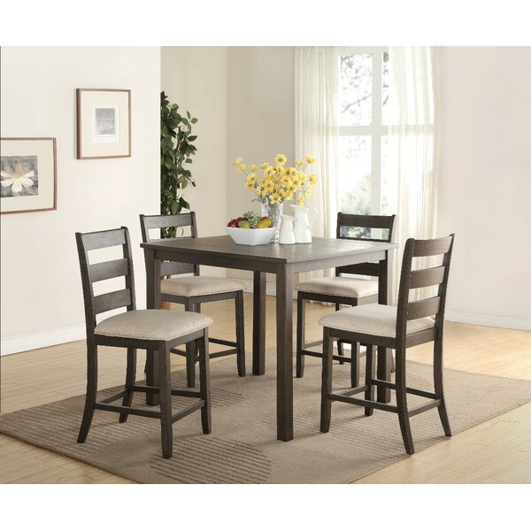Merideth 5 Piece Counter Height Solid Wood Dining Set by August Grove