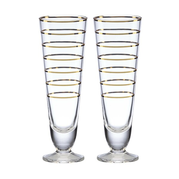 Melrose Avenue Gold Stripe Pilsner, Set of 2 (Set of 2) by kate spade new york