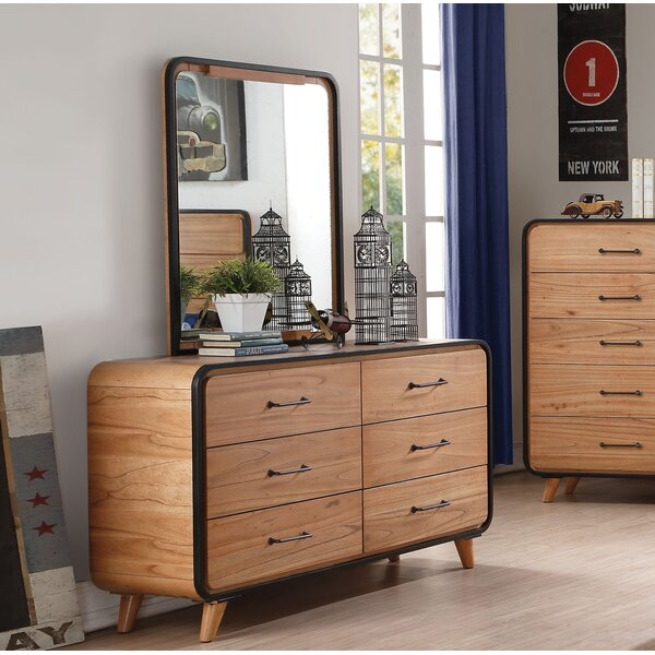 Carnamaddy 6 Drawer Double Dresser With Mirror By Harriet Bee by Harriet Bee Modern