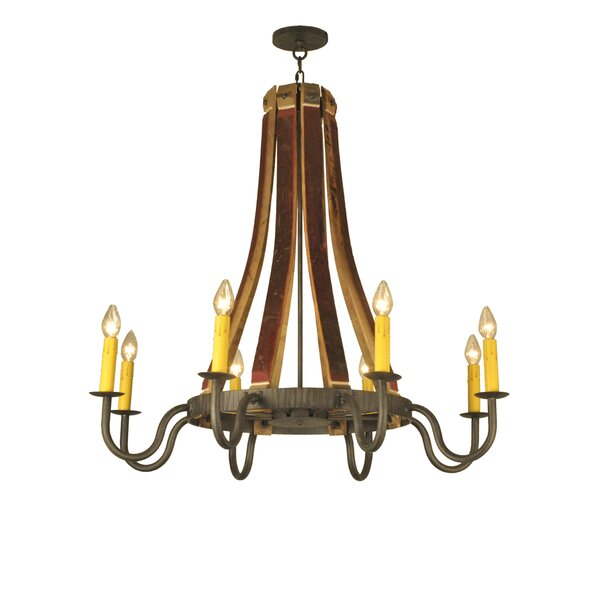 Greenbriar Oak 8-Light Candle Style Wagon Wheel Chandelier by Astoria Grand Astoria Grand