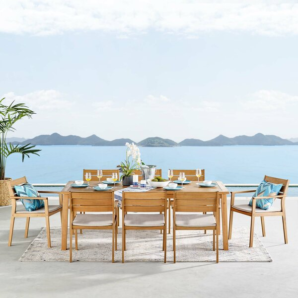 Aliya Outdoor 9 Piece Dining Set with Cushions by Rosecliff Heights