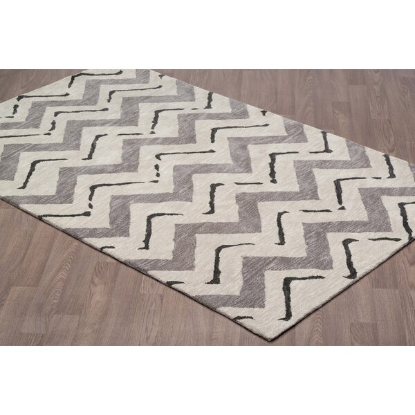 Baden Chevron Modern Hand-Tufted Wool Gray Area Rug by Foundry Select