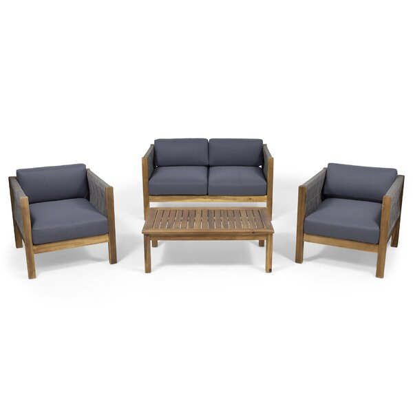 Silke Modern Outdoor 4 Piece Sofa Seating Group with Cushions by Ivy Bronx