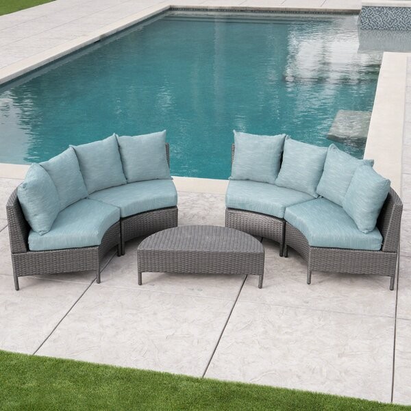 Zanders 5 Piece Rattan Sectional Seating Group with Cushions by Highland Dunes
