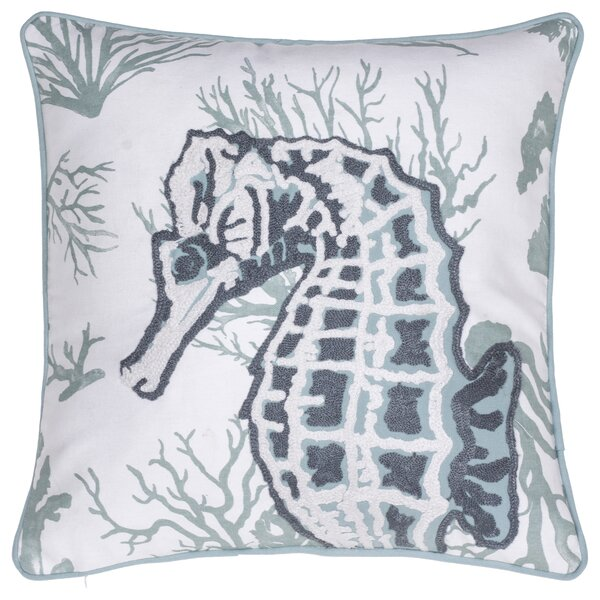 Seahorse Crewel Stitch Cotton Throw Pillow by 14 Karat Home Inc.