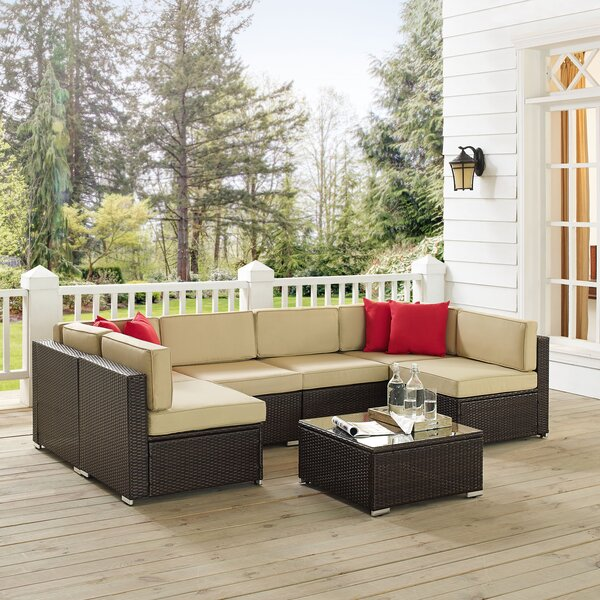 Kaczor 7 Piece Rattan Sectional Set with Cushions by Charlton Home