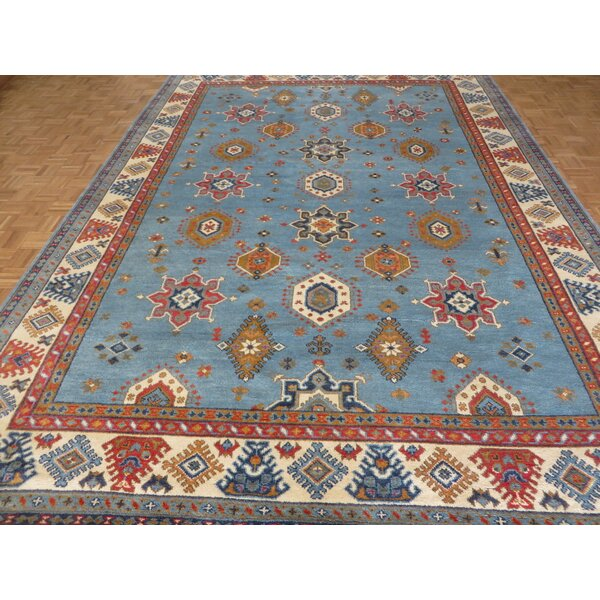 One-of-a-Kind Brisson Geometric Hand-Knotted Wool Sky Blue Area Rug by Isabelline