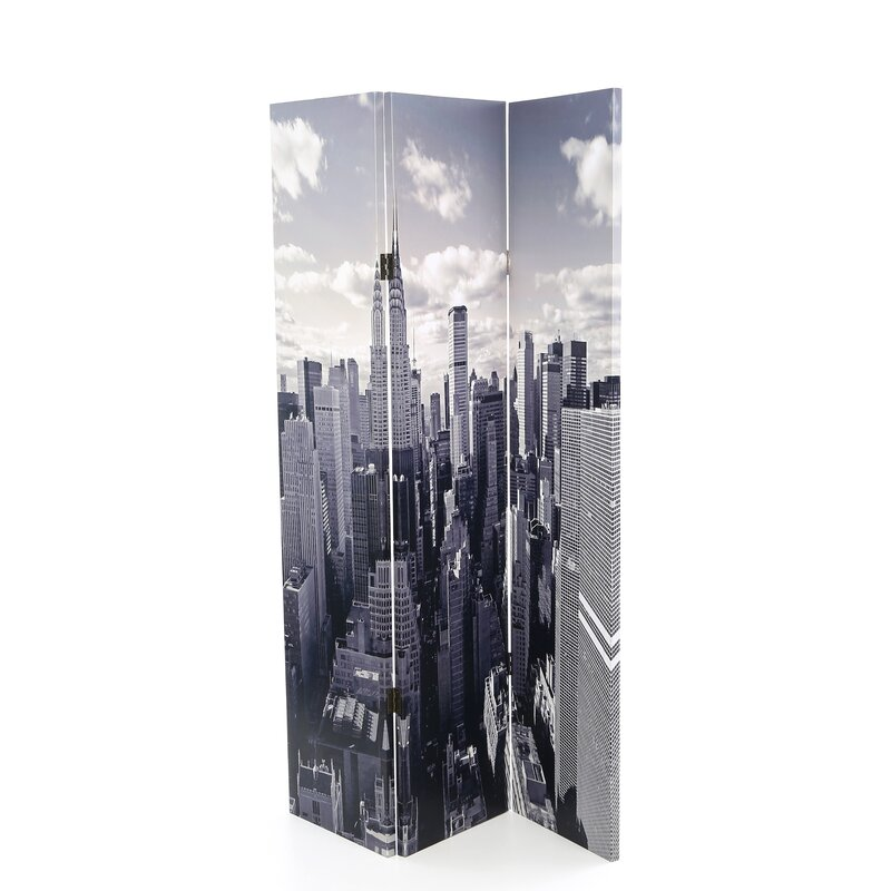 Screen Gems New York Skyline 3 Panel Room Divider Wayfair