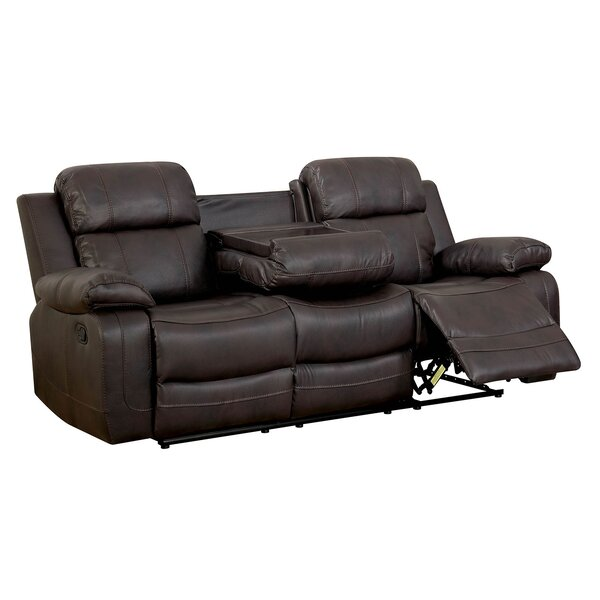 Helfrich Contemporary Sofa Leather Manual Wall Hugger Recliner by Red Barrel Studio
