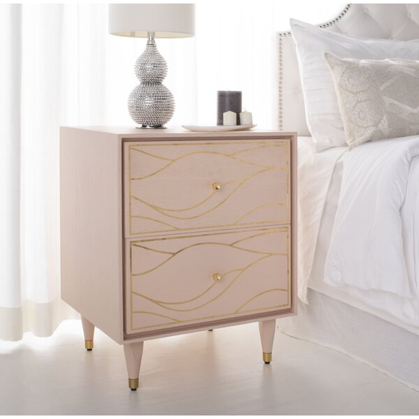 Clarkfield Wave 2 Drawer Nightstand by House of Hampton