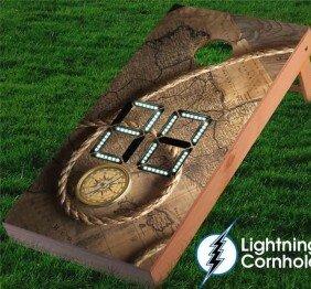 Electronic Scoring Pirates Compass Cornhole Board by Lightning Cornhole