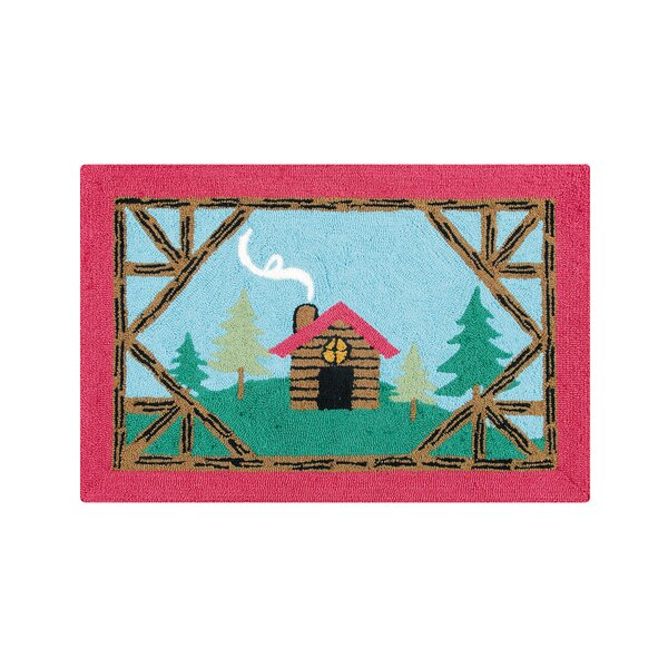 Farley Log Cabin Lodge Blue Area Rug by Loon Peak