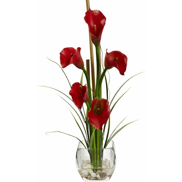 Calla Lilly Liquid Illusion with Decorative Vase Floral Arrangements by Nearly Natural
