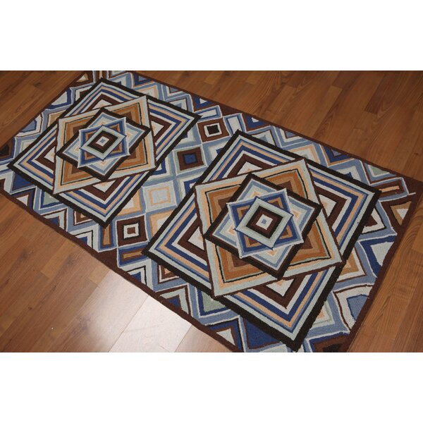 One-of-a-Kind Curiel Hand-Knotted Wool Blue/Beige Area Rug by Latitude Run