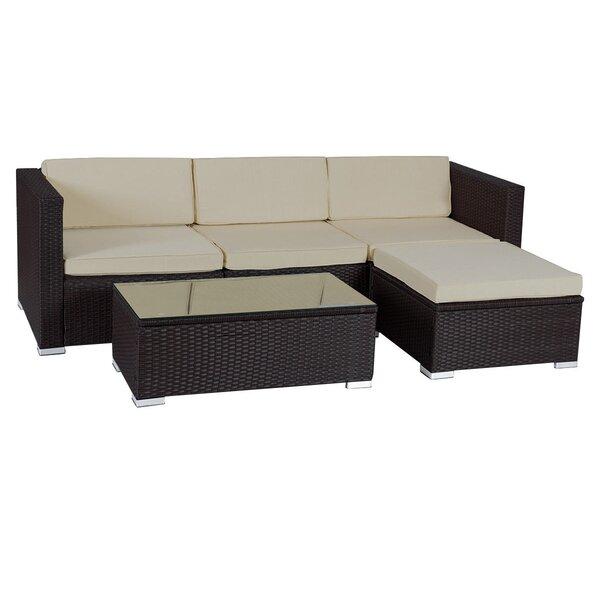Kursat Patio Garden 5 Piece Rattan Sofa Seating Group with Cushions by Latitude Run