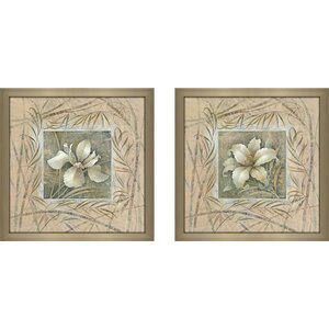 'Spa Lily' 2 Piece Framed Graphic Art Print Set Under Glass by Andover Mills
