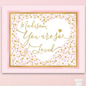 Hearts Personalized 'You Are so Loved' Canvas Art by Toad and Lily
