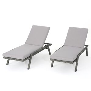 thebes outdoor wicker chaise lounge with water resistant cushion set of 2