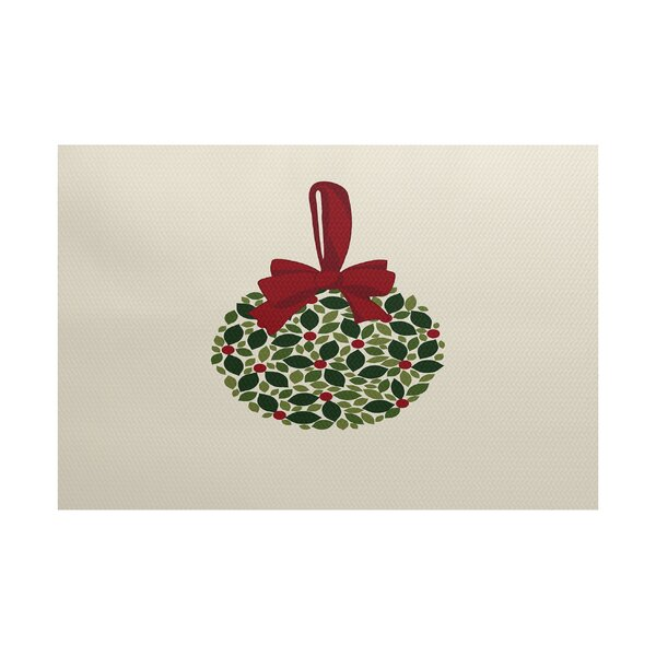 Mistletoe Me Cream/Green Indoor/Outdoor Area Rug by The Holiday Aisle