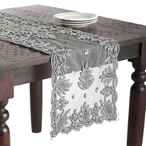 Morais Hand Beaded Design Table Runner by Bloomsbury Market