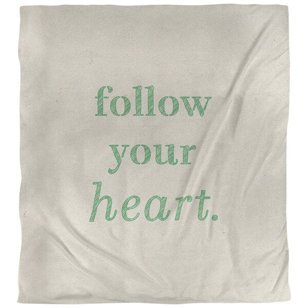 Quotes Handwritten Follow Your Heart Single Reversible Duvet Cover