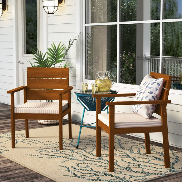 Gaeta Patio Dining Chair with Cushion (Set of 2) by Beachcrest Home Beachcrest Home