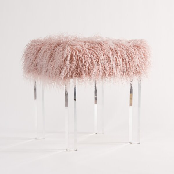 Cherie Lamb Faux Fur Acrylic Square Leg Stool by Willa Arlo Interiors