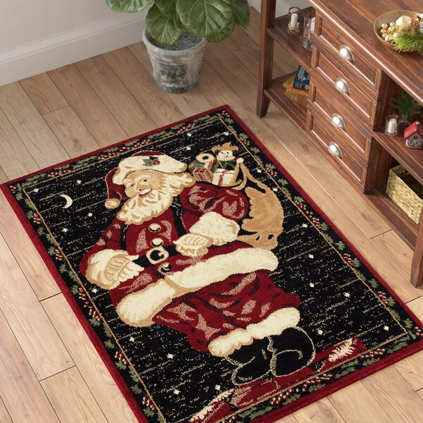 Holiday Christmas Santa Claus High Quality Woven Red Area Rug by The Holiday Aisle