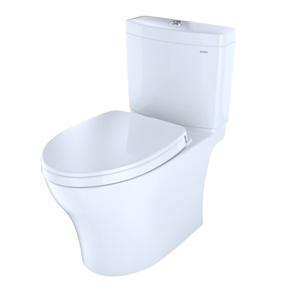 Aquia IV 1G Skirted Dual Flush Elongated Two-Piece Toilet with CeFiONtect by Toto
