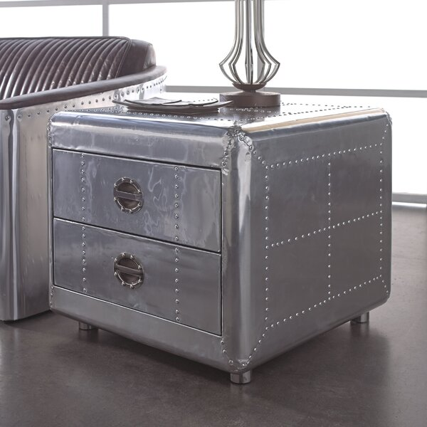 Lindbergh Bomber End Table with Storage by Lazzaro Leather