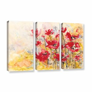 Poppy Field by Karin Johannesson 3 Piece Painting Print on Wrapped Canvas Set by ArtWall