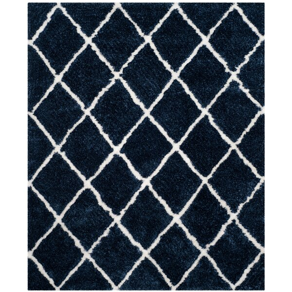 Lindsay Hand-Tufted Navy/White Area Rug by Brayden Studio