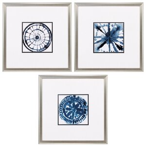 Indigo Dye 3 Piece Framed Graphic Art Set by Propac Images