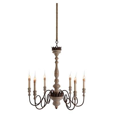 Mumaw 6-Light Candle-Style Chandelier #FrenchCountry #woodchandelier #Frenchchandelier