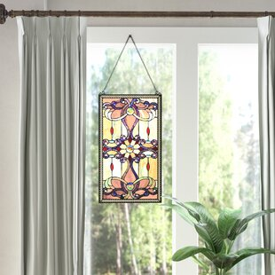 Ludington Tiffany Style Stained Gl Window Wall Panel