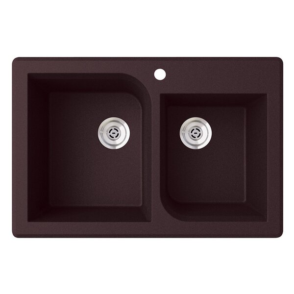 33 L x 22 W Double Basin Drop-In Kitchen Sink by Swan Surfaces