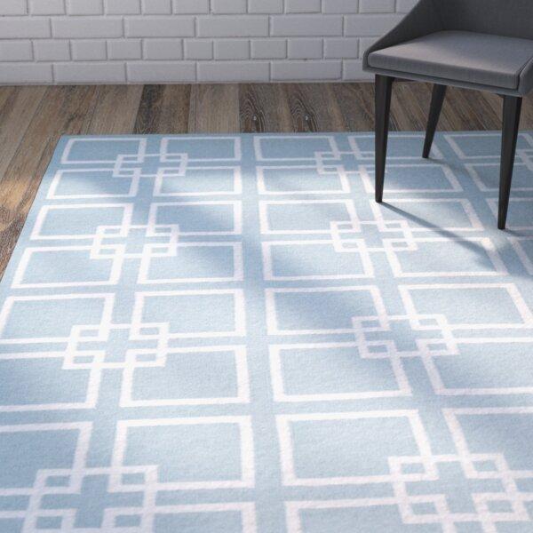 Square Dance Geyser Blue Area Rug by Martha Stewart Rugs