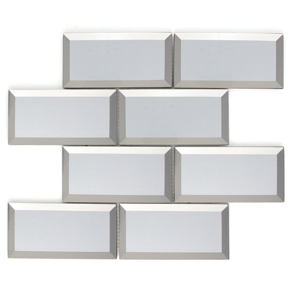 Inner Reflections Mirror Look 3 x 6 Beveled Glass Mosaic Tile in Silver by Multile