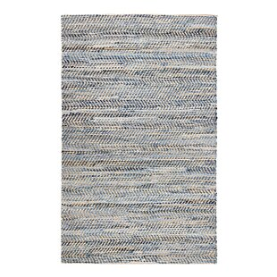 Mamer Hand Woven Tan Blue Area Rug