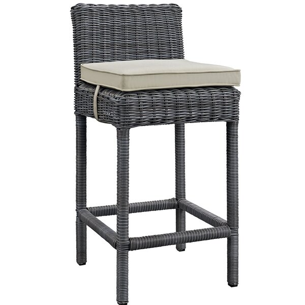 Keiran 28 Patio Bar Stool with Cushion by Brayden Studio