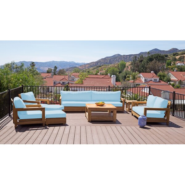 Crelake Deluxe 8 Piece Teak Sunbrella Complete Patio Set with Cushions by Foundry Select