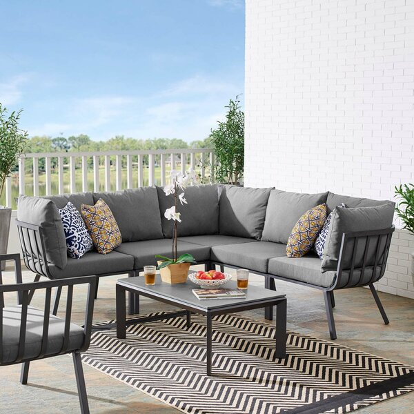 Montclaire Outdoor Patio 3 Piece Sectional Seating Group with Cushions
