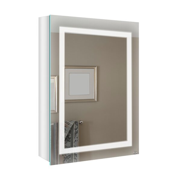 Joliet Surface Mount Frameless 1 Door Medicine Cabinet with Adjustable Shelves and LED Lighting and Electrical Outlet