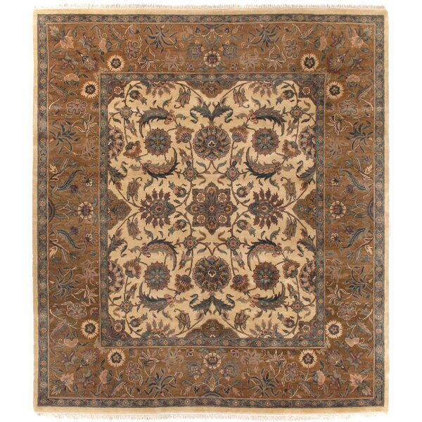 Traditional Hand-Knotted Wool Gold/Brown Area Rug by Exquisite Rugs