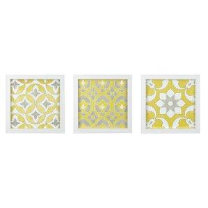 geometric framed 3 piece graphic art print set