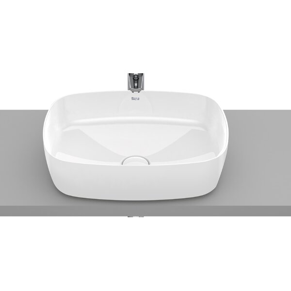 Inspira Glossy White Ceramic Rectangular Vessel Bathroom Sink