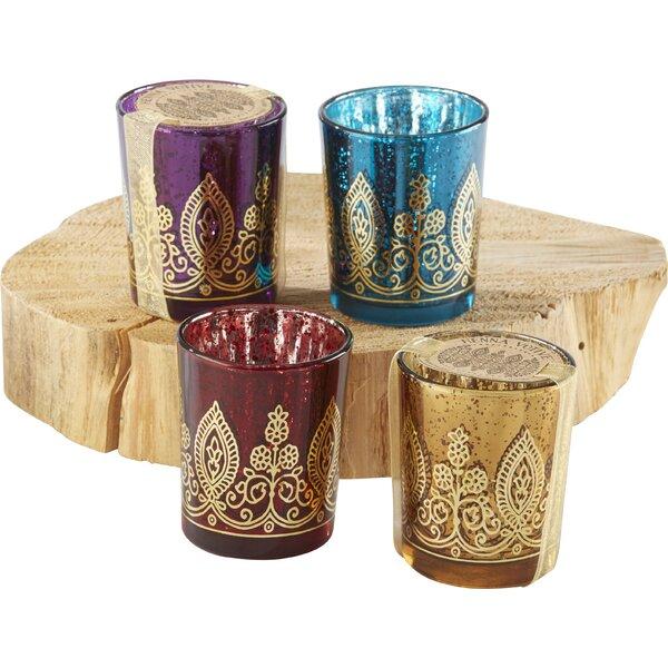 Indian Jewel Henna Glass Tealight Holder (Set of 12) by Kate Aspen