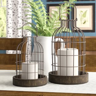 Donna 2 Piece Metal/Wood Cloche Lantern Set By Gracie Oaks Outdoor Lighting